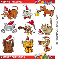 chats, dessin animé, ensemble, chiens, noël
