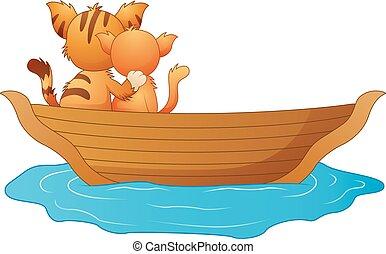 chats, deux, bateau, dessin animé