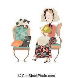 chats, femme, vieux, elle