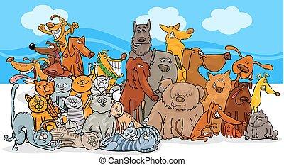 chats, groupe, chien, caractères, dessin animé