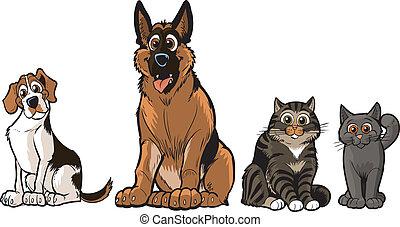 chats, groupe, chiens, dessin animé