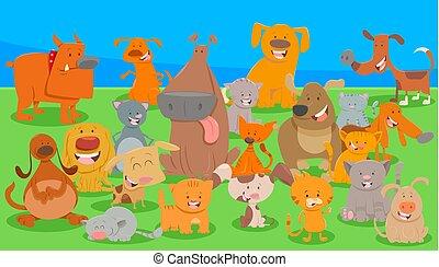 chats, groupe, dessin animé, caractères, chiens