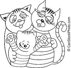 chats, livre coloration, famille