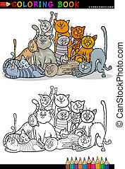 chats, livre coloration, illustration, dessin animé