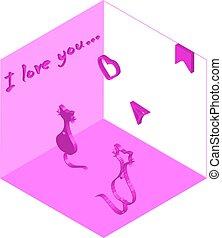 chats, love., deux