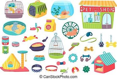chats, magasin, isolé, cages, soin, ensemble, bowls., illustrations., conjugal, vecteur, maisons, chouchou, objets, animaux, icônes, accessoire