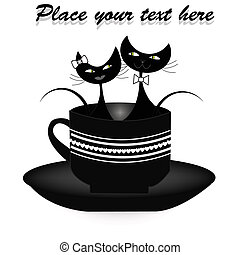 chats, séance, noir, deux, tasse