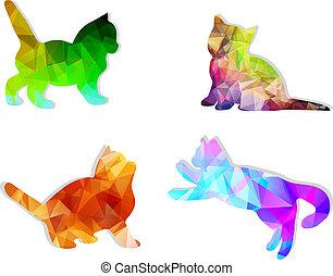 chats, silhouettes, vecteur, mosaïque