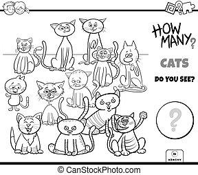 chats, tâche, pédagogique, couleur, dénombrement, livre