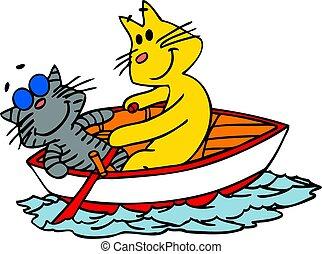 chats, vecteur, boat., illustration, deux