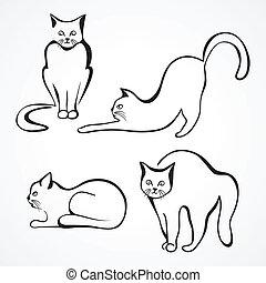 chats, vecteur, collection
