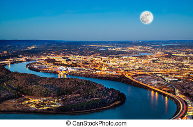 Chattanooga downtown at night as seen from Lookout Mountain