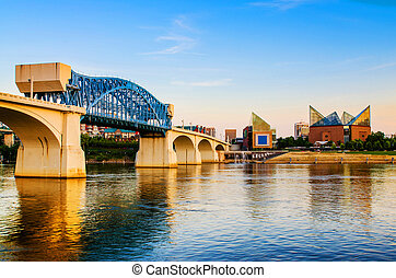 Chattanooga, Tennessee at dusk - Downtown Chattanooga,...
