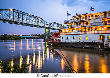 Chattanooga, Tennessee, USA at night on the river.