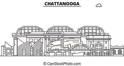 Chattanooga, United States, flat landmarks vector illustration. Chattanooga line city with famous travel sights, design skyline.