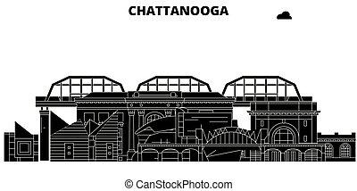 Chattanooga, United States, vector skyline, travel illustration, landmarks, sights.