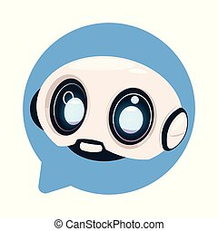 Chatter Bot Cute Robot Icon In Speech Bubble Icon Concept Of Chatbot Or Chat Bot Technology Flat Vector Illustration