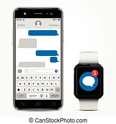 Smartphone with messaging sms chat on screen and smart watch with sms app