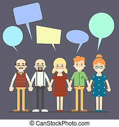 Group of smiling and young cartoon people with speech bubbles over head, vector illustration on perpl background. Chatting communication concept. Social network and teamwork.