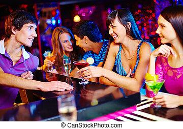 Chatting in bar