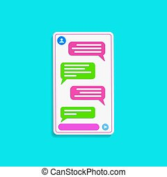 chatting interface with bubble speeches isolated on tosca blue color background. concept of online talking, conversation. minimal design. 3d vector illustration