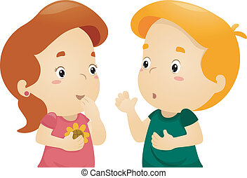 Illustration of a Girl Listening to a Boy Telling a Story