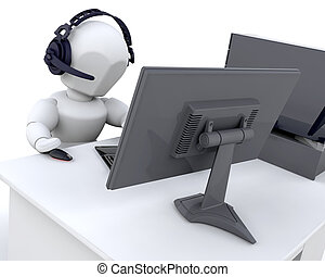 3D render of a man chatting over the web