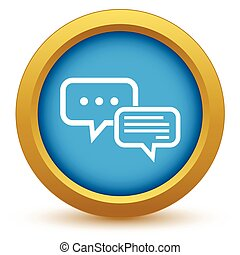 Chatting round icon - Round colored icon with image of two...