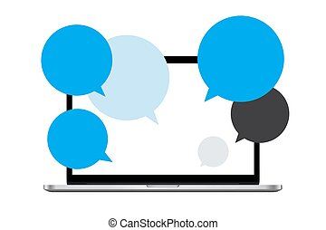 Chatting Window Social Media Bubbles on Laptop, People Remote Working