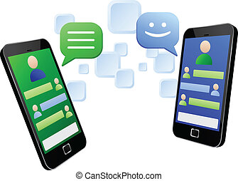 Vector illustration of instant messaging between two modern touch screen mobile phones. Vector EPS8 file layered and grouped for easy editing