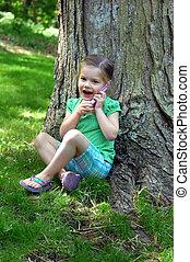 Chatty Little Girl Outdoors