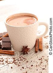 chaud, épice, chocolat lait
