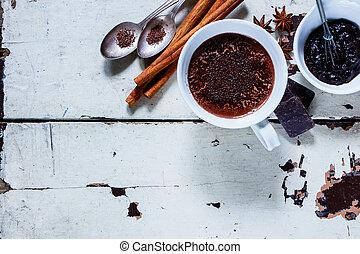 chaud, épices, chocolat