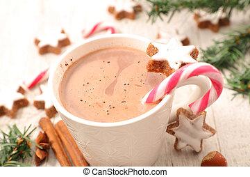 chaud, épices, chocolat lait