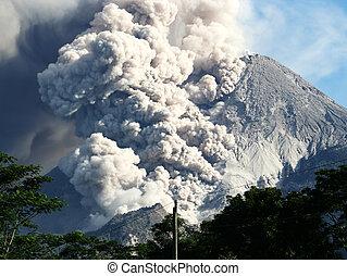 chaud, éruption, nuage, massif, montagne