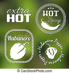 chaud, étiquettes, poivre, supplémentaire