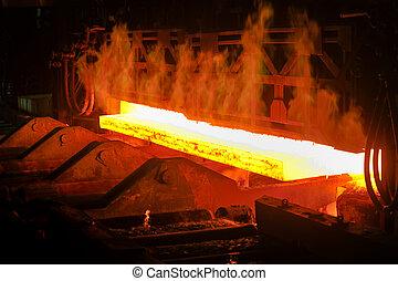 chaud, acier, depuis, four
