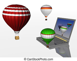 chaud, ballons, ordinateur portable, air