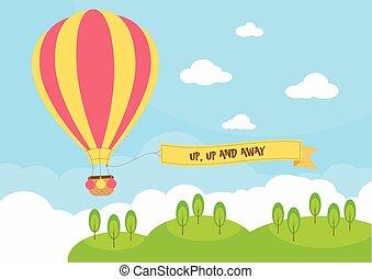 chaud, bannière, balloon, air