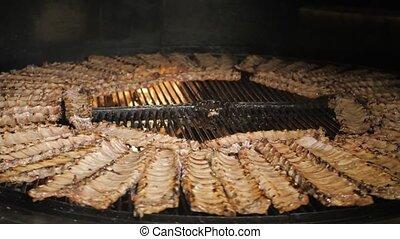 chaud, barbecue, viande, brûler, gril, nourriture, cuisine, maïs