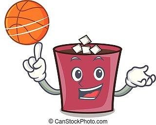 chaud, basket-ball, caractère, dessin animé, chocolat
