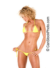 chaud, blonds, girl, dans, jaune, bikini