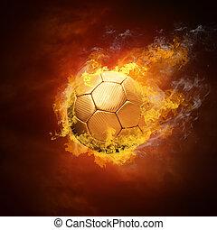 chaud, boule football, sur, les, vitesse, dans, feux, flamme