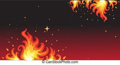 chaud, brûler, fond, bannière