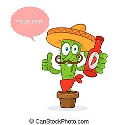 chaud, cactus, sauce, tient