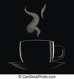 chaud, café noir, tasse