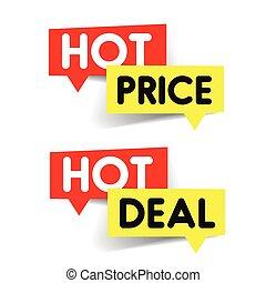 chaud, coût, autocollant, affaire, étiquette