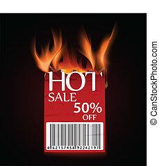chaud, conception, vente, brûlé, étiquette