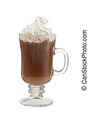 chaud, crème, grande tasse, fouetté, chocolat