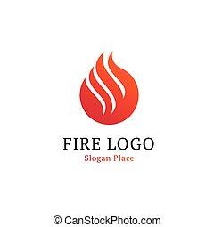 chaud, cuisine, logotype, template., ondulé, ligne blanche, sur, rouges, rond, forme., brûler, flammes, brûlé, vecteur, logo., isolé, rouges, résumé, pompier, logotype, blanc, fond